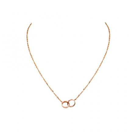 copy cartier love pink Gold necklace a ring covered with diamonds pendant