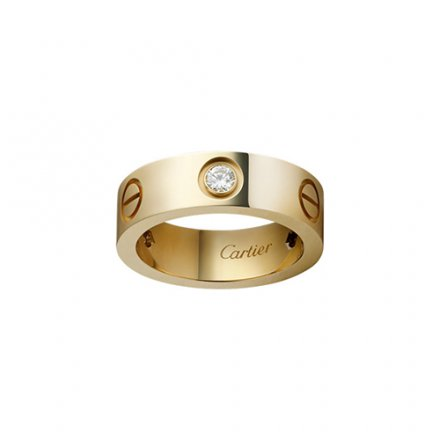 replica cartier love yellow gold ring mosaic three diamond wide version