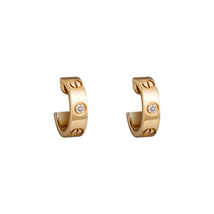 replica cartier love yellow gold earring inlaid with two diamonds B8022900