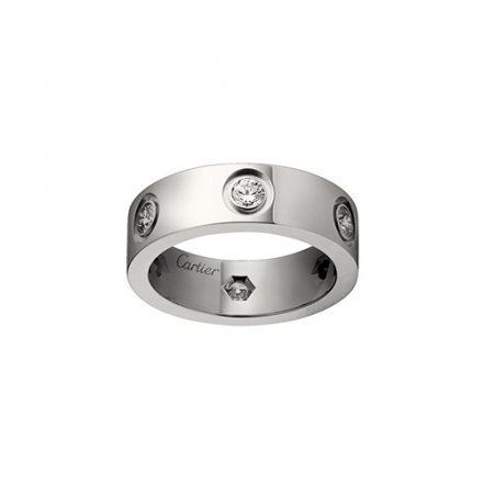 replika cartier love Weißes Gold Ring 6 Diamanten breite Version