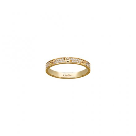 replica cartier love anello giallo oro SM Coperto di diamanti