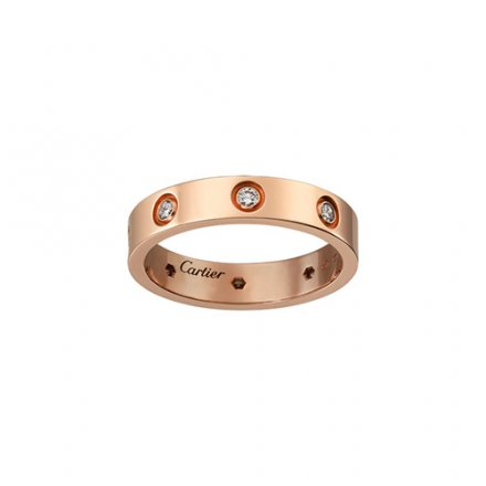 Kopie cartier love Rosa Gold Ring acht Diamanten schmale Version