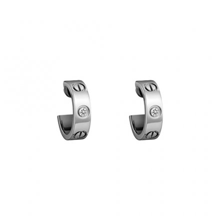 fake cartier love white gold earring inlaid with two diamonds B8022800