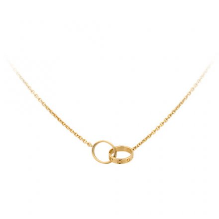 fake cartier love yellow gold necklace with double ring pendant
