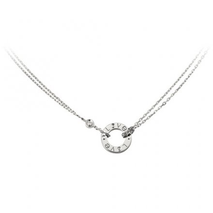 replica cartier love white gold necklace with 2 Diamonds double stranded pendant