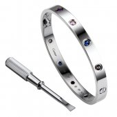 Cartier Love Bracelet fake White Gold Aquamarine Sapphire Spinel Amethyst
