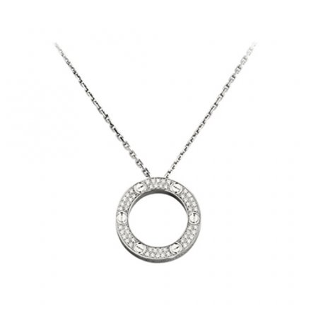 replica cartier love white gold necklace paved with diamonds pendant