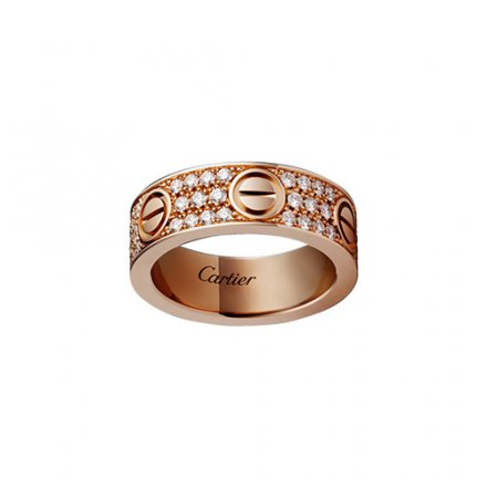 copy cartier love pink Gold ring covered diamond wide version