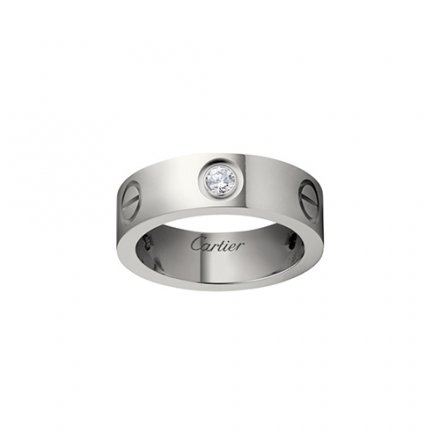 fake cartier love white gold ring mosaic three diamond wide version