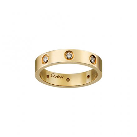 Replik cartier love gelbes Gold Ring acht Diamanten schmale Version