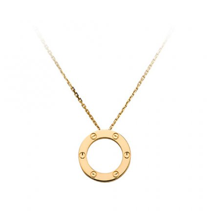 fake cartier love yellow gold necklace screw design with pendant