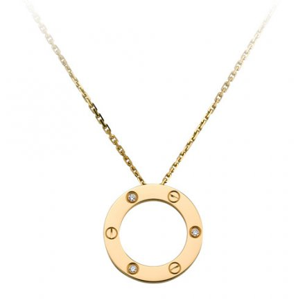fake cartier love yellow gold necklace with 3 Diamonds pendant