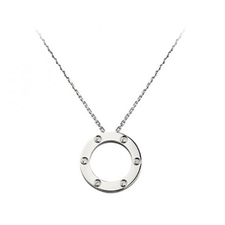 fake cartier love white gold necklace with 6 Diamonds pendant