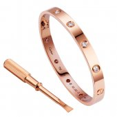 Cartier Love Bracelet replica Pink Gold Plated Real With 10 Diamonds