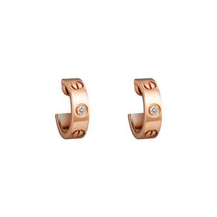 copy cartier love pink Gold earring inlaid with two diamonds B8301218