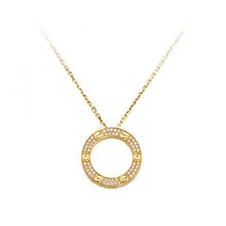 fake cartier love yellow gold necklace paved with diamonds pendant