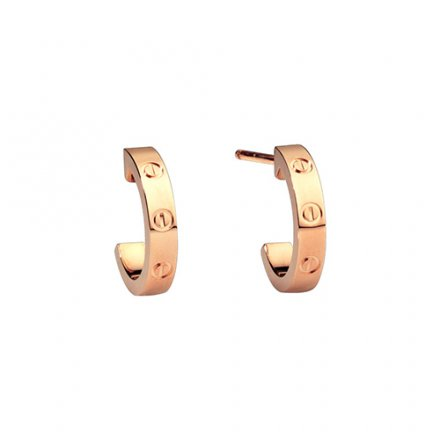 copy cartier love pink Gold earring screw design B8029000