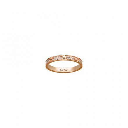fake cartier love ring pink gold SM Covered with diamonds
