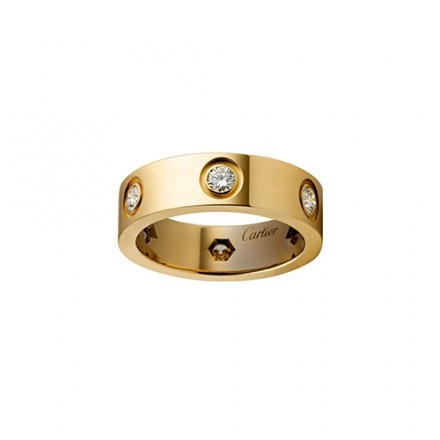 Replik cartier love gelbes Gold Ring 6 Diamanten breite Version
