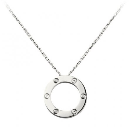 replica cartier love white gold necklace with 3 Diamonds pendant