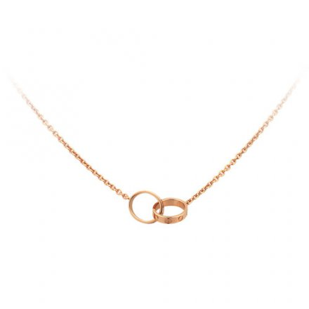 copy cartier love pink Gold necklace with double ring pendant