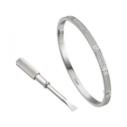 copy cartier love white gold bracelet SM brilliant-cut diamonds