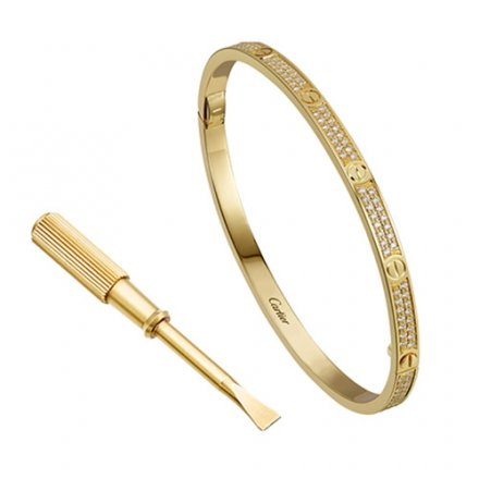 Replik cartier love gelbes Gold Armband SM mit Brillanten