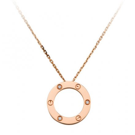 copy cartier love pink Gold necklace with 3 Diamonds pendant