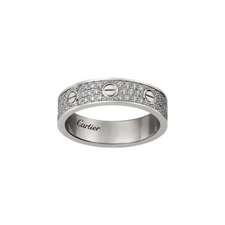 fake cartier love white gold covered diamond ring narrow version
