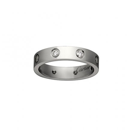 fake cartier love white gold ring eight diamond narrow version