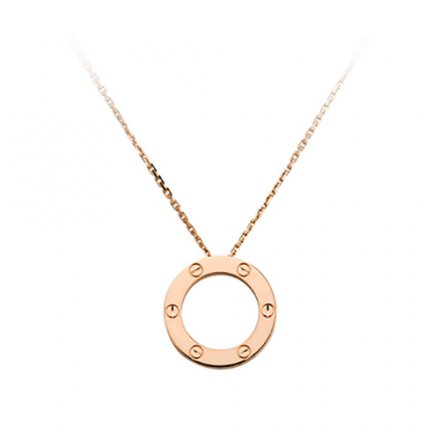 copy cartier love pink Gold necklace screw design with pendant