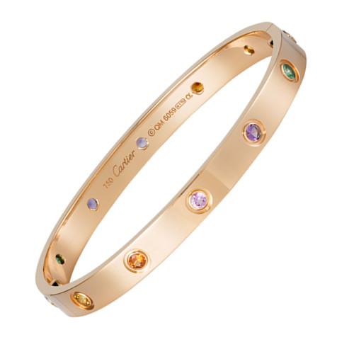 Cartier Love Bracelet replica Pink Gold Sapphire Pomegranate Stone Amethyst
