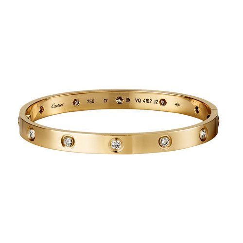 Cartier love Armband Replik Gelbgold mit 10 Diamanten B6040617