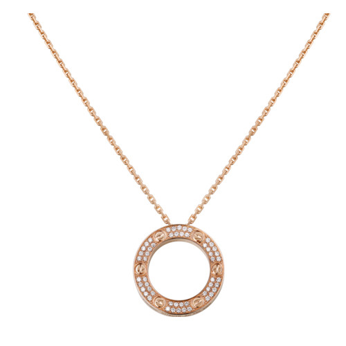 copy cartier love pink Gold necklace paved with diamonds pendant - Click Image to Close