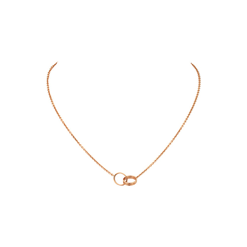 copy cartier love pink Gold necklace with double ring pendant - Click Image to Close