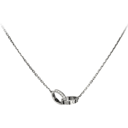 replica cartier love white gold necklace a ring covered with diamonds pendant - Click Image to Close