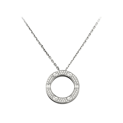 réplique cartier love or blanc Collier pavé de diamants pendentif