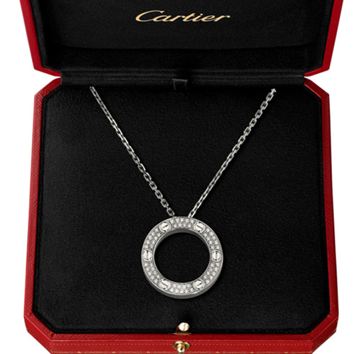 replica cartier love white gold necklace paved with diamonds pendant - Click Image to Close