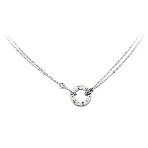 réplique cartier love or blanc Collier avec 2 diamants pendentif double brin