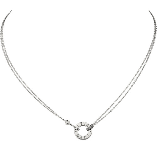 replica cartier love white gold necklace with 2 Diamonds double stranded pendant - Click Image to Close