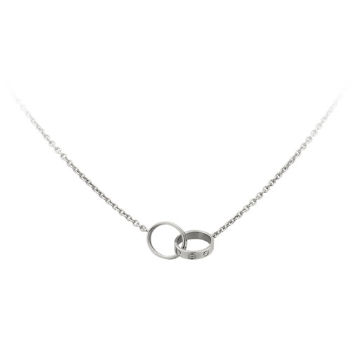 replica cartier love white gold necklace with double ring pendant