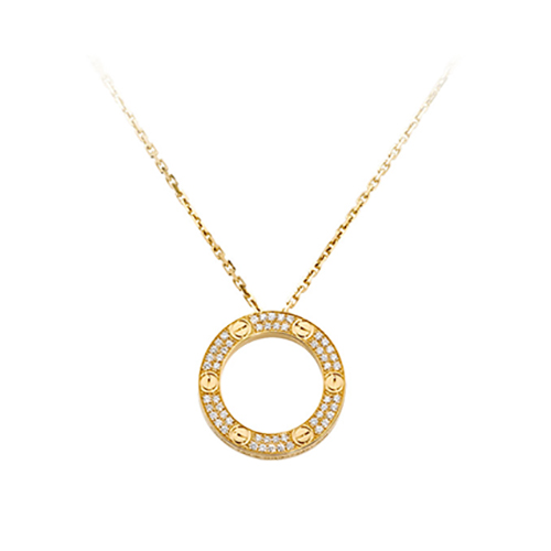 faux cartier love or jaune Collier pavé de diamants pendentif