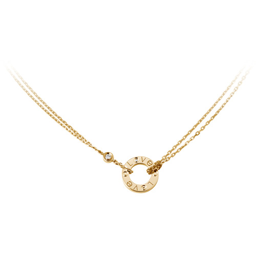 falso cartier love oro amarillo collar con 2 diamantes colgante de doble cadena