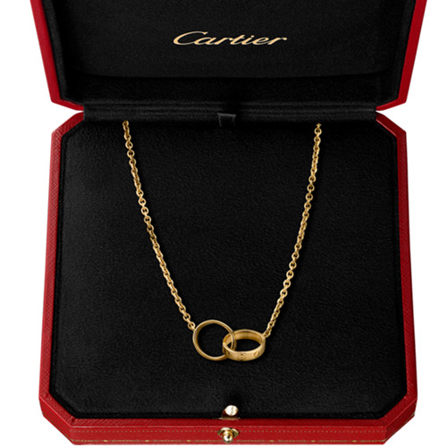 fake cartier love yellow gold necklace with double ring pendant - Click Image to Close