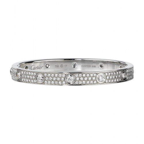 Replica Cartier Love White Gold Bracelet With 10 Diamonds Paved With Diamonds
