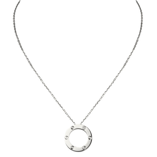 replica cartier love white gold necklace with 3 Diamonds pendant - Click Image to Close