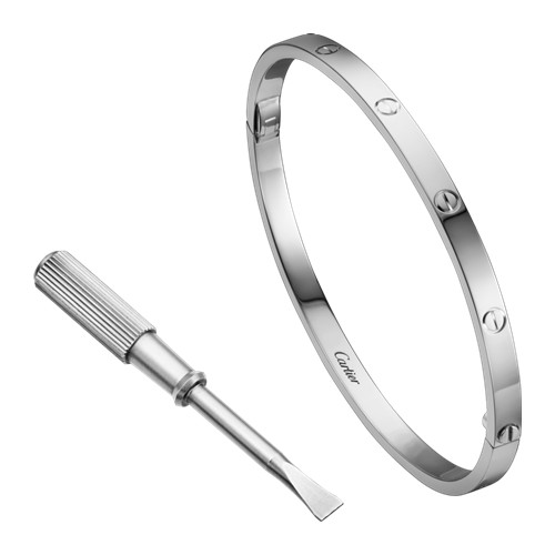 fake cartier love bracelet SM White gold small model B6047417