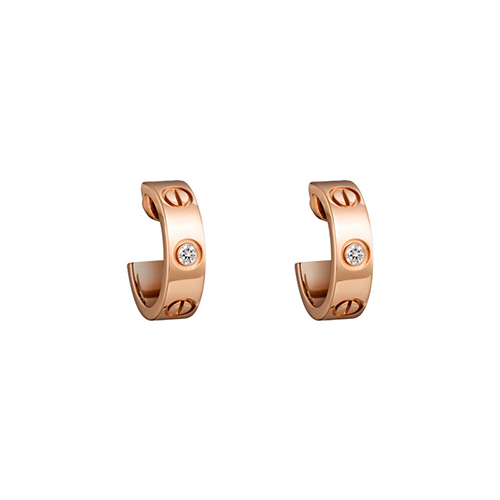 copy cartier love pink Gold earring inlaid with two diamonds B8301218 - Click Image to Close