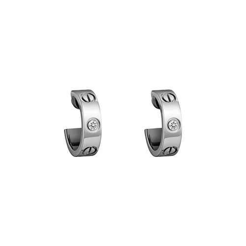 fake cartier love white gold earring inlaid with two diamonds B8022800 - Click Image to Close