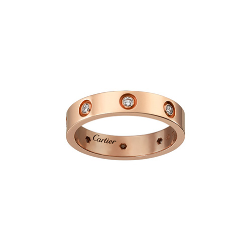 copy cartier love pink Gold ring eight diamond narrow version